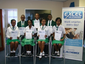 Scholars from Parkhill High School, Back (left to right): Siyabulela Gasa, Sibongiseni Hlongwa, Thembekani Memela Front (left to right): Busisiwe Hlongwane, Thembeka Memela, Nomalanga Langa, Nolwazi Ximba