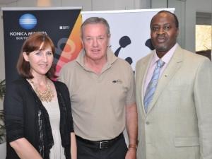 L-R - Dr Cindy Harper, head of the Veterinary Genetics Laboratory at the University of Pretoria, Alan Griffith, MD of Konica Minolta South Africa, Dr Joseph Okori, head of WWF's African Rhino Programme.