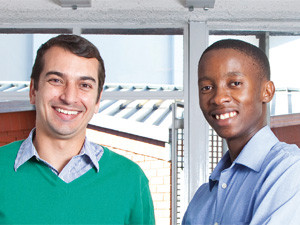 Eric Clements and Mongezi Nombewu, Kazazoom, use the Mxit third-party game and app ecosystem as an opportunity to create employment for young and ambitious IT professionals. Photography: Karolina Komendera