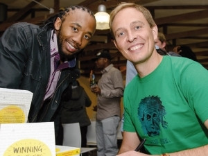 Fanele Ndzoko gets his copy of Winning Without Losing signed by author and Startup Bootcamp co-founder Martin Bjergegaard.