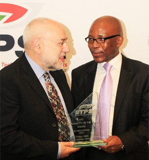 Barry Dwolatzky, director of the Joburg Centre for Software Engineering, and Mteto Nyati, Microsoft SA MD, are the co-winners of 2013 IT Personality of the Year Award. Photograph by Dylan Mohlala.