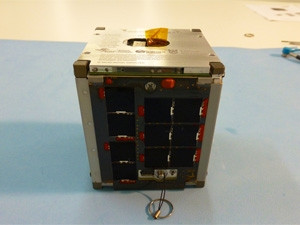 The ZACUBE-1 nanosatellite measures 10cm^3 and weighs 1.2kg.