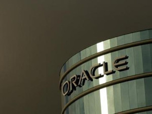 The company logo is shown at the headquarters of Oracle Corporation in Redwood City, California in this 2 February 2010 file photograph.