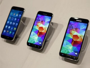 New Samsung Galaxy S5 smartphones are seen on a display at the Mobile World Congress in Barcelona this week.