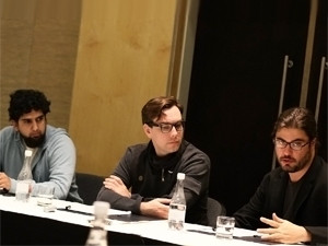Haroon Meer, Jacob Appelbaum and Christopher Soghoian address a media conference at the Security Summit.