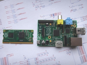 The new compute module (left) further shrinks the already compact Raspberry Pi system (right).