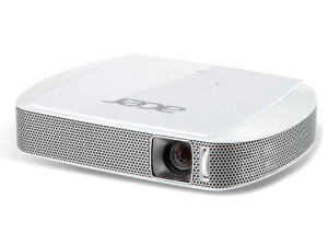 The Acer C205 LED projector is a portable, lightweight device that is smaller than an A3 book.