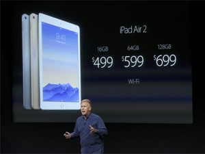 Phil Schiller, Apple's senior VP of worldwide product marketing, speaks during a presentation of the new iPad.