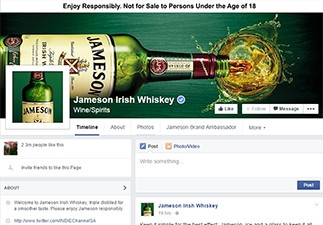 Jameson Irish Whiskey is South Africa's top brand on Facebook, with an interaction engagement score of 159%.