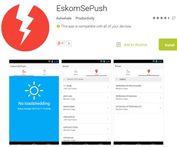 The EskomSePush app allows users to view what areas will be affected by power outages that day.