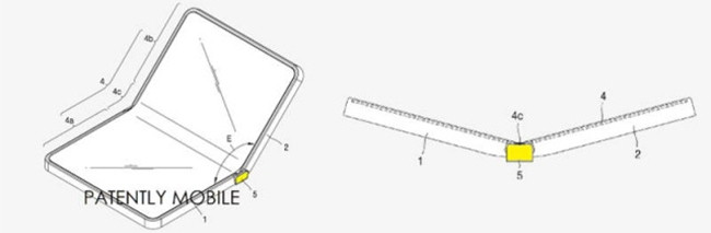 The patent, filed by Samsung, shows the company may be working on developing a foldable smartphone. (Source: Patently Mobile)
