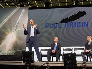 Amazon and Blue Origin founder Jeff Bezos outlines plans to build a rocket manufacturing plant and launch site in Florida.