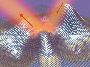 Light reflects off the cloak (red arrows) as if it were reflecting off a flat mirror in this 3D illustration of a metasurface skin cloak made from an ultrathin layer of nano-antennas.