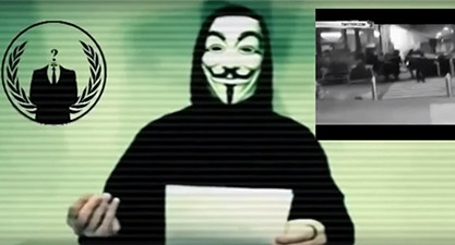 A screenshot of the video that went viral this week, featuring an Anonymous member declaring cyber war on ISIS, following the Paris terror attacks.