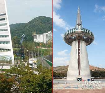 Daejeon was the host of the 1993 Expo. The Tower of Great Light and a giant stainless steel statue of a golfer still dominates the view.