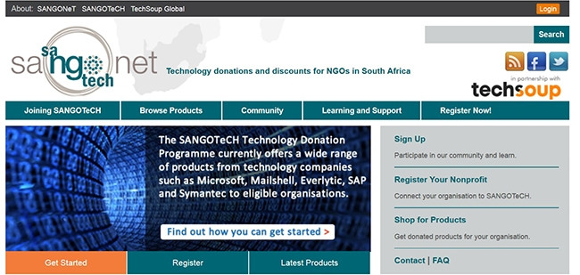 TechSoup partners with SANGONeT in South Africa to provide technology resources to non-profit organisations.