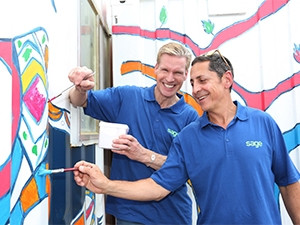 Sage's Stephen Kelly and Ivan Epstein paint the Sage Foundation library.