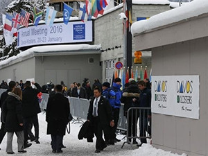 Attendees outside the annual meeting of the World Economic Forum in Davos, Switzerland.
