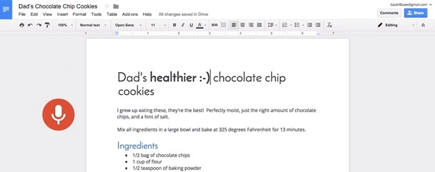 A user verbally edits a recipe in a video demonstrating Google Docs' new features.