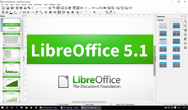 LibreOffice's latest version includes reconfigured menus in its Write, Calc, and Impress (pictured) programs.