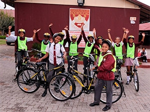 Pupils from Noordgesig Secondary School received bicycles from Dimension Data and partners to create a cycling-friendly Soweto.