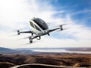 The Ehang 184 can purportedly carry a human passenger of up to 100kg for 23 minutes, at an average speed of 100km per hour.