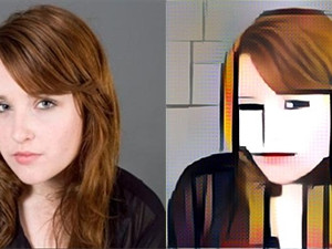 A before and after headshot with the Mondrian filter applied.