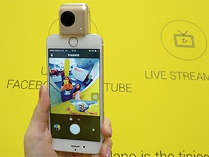 The Insta360 is a smartphone add-on that allows users to take 360-degree photos and video and share them directly to social media. Users are also able to live-stream in 360.