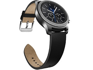 The Samsung Gear S3 is water-resistant and designed by traditional Swiss watch manufacturers.
