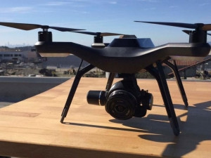 Drone company 3D Robotics displays its commercial drone equipped with high-tech cameras and imaging software.
