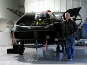 Rafi Yoeli stands next to a prototype of the Cormorant, a drone which can transport 500kg of weight and travel at up to 185 km per hour.