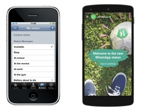 The first version of WhatsApp and the latest, both with the status feature.