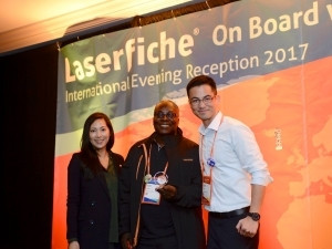 From left: Denise Choi, Laserfiche Business Development Manager; Dr. Isaac Adjei Doku, Director (MIS) of Volta River Authority and Sean Tang, Managing Director of Laserfiche International.