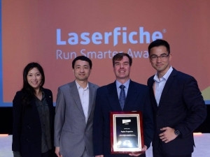 From left: Denise Choi, Laserfiche Business Development Manager; Karl Chan, President and CTO of Laserfiche; Hano Geldenhuis, Pepkor Financial and Systems Manager and Sean Tang, Managing Director of Laserfiche International.