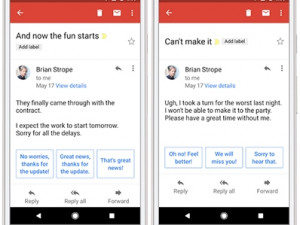 Smart Reply is now available in Gmail.