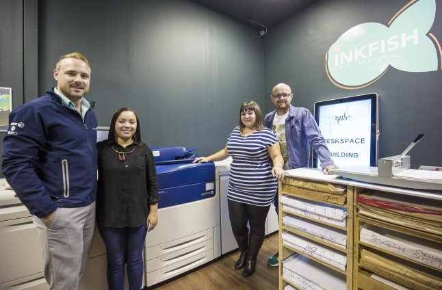 Inkfish - left to right, Dayne Ridgway of Cape Office Machines. Shonell Carelse, Taryn Thomas and Willem Jacobs of InkFish.