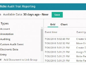 Laserfiche Audit Trail tracks all activity within the Laserfiche repository.