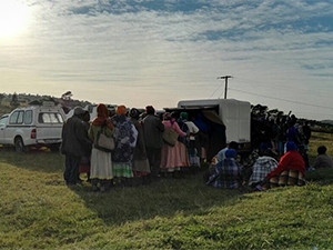 Social grants recipients line up at a CPS paypoint in Bizana in the Eastern Cape.