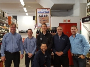 A happy project team with Craig Robinson (joint-CEO, Ultra Liquors) on opening day at Wynberg: f.l.t.r - Weyer Cremer, Paul Gleed, Craig Robinson, David Geldenhuys, Ian van Rensburg Seated front: Chadley Kepkey