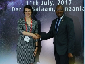 Dr Bello Moussa, director of innovation and industries relations at Huawei, and Alix Murphy, director of partnerships at WorldRemit.