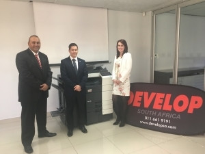 Left to right: Marc Pillay, CEO of Develop South Africa, Clayton Passmore, business development specialist at Konica Minolta Business Solutions Europe GmbH, Shannon Ras, sales, marketing and training coordinator at Develop South Africa.