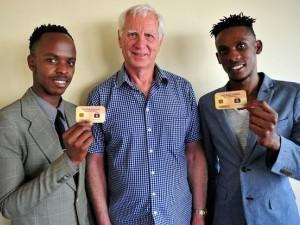 Ekasi Bucks co-founders, Lucky Kgwadi and Edgar Lebelo with investor Ernest Klokow.
