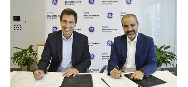 Johannes Koch, MD, Middle East and Africa for HPE, and Ali Saleh, senior vice president and chief commercial officer for GE Digital MEA.