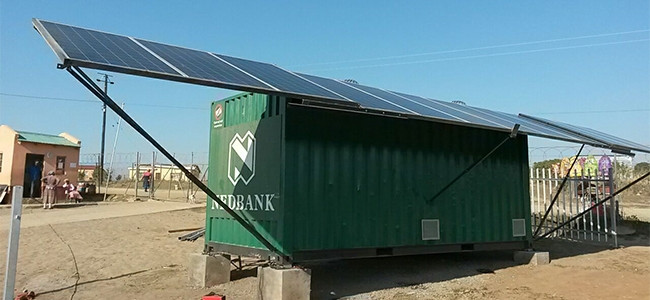 "Nedbank's solar branch will offer e-banking technology in an area where banks ""normally don't go""."