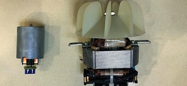 The motor within the Supersonic (left) compared to the motor (right) within a competitor product.
