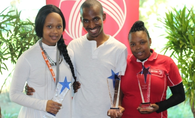 Quarterly award winners for period: Mar'17 - May'17, from left: Bonisile Kunene (System Administration); Sifiso Khoza (Inbound Client Contact Centre); Maria Mokgoetsi (MPS Monitoring).