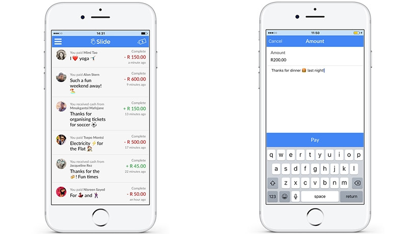 The Slide app lets users send money to anyone regardless of bank.