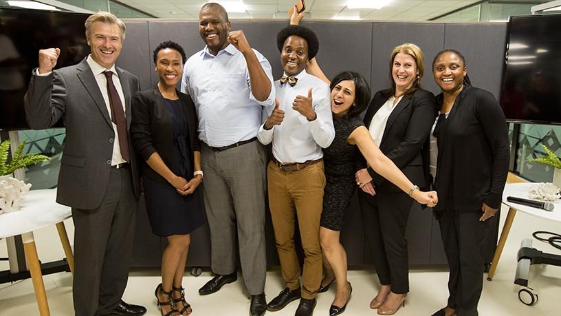 (From Left) Justin Bothner, head of investment banking, Merrill Lynch SA; Neo Ratau, founder of Everest Ventures; Mbulelo Mpofana, co-founder, Investsure; Mutoda Mahamba, co-founder Cascade Insurance; Priya Mistry, co-founder CommuScore; Julia Benadie, regional executive, Merrill Lynch; and Albertina Kekana, CEO, Royal Bafokeng.