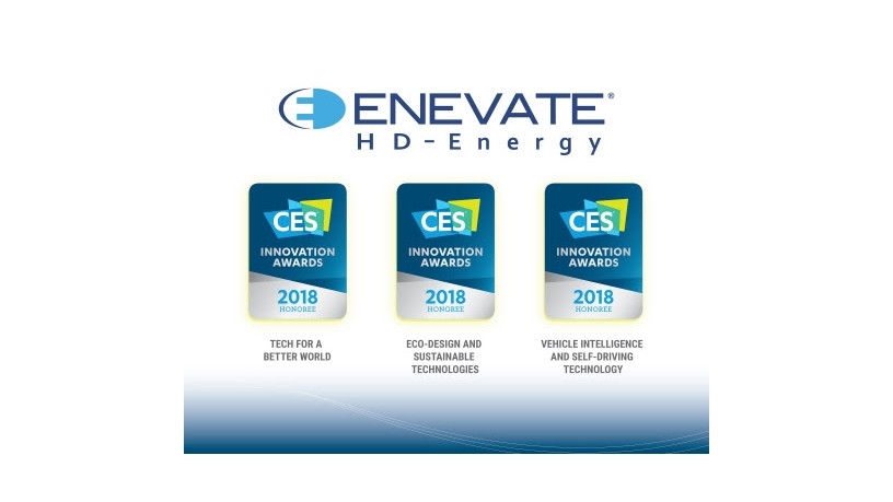 Enevate's HD-Energy Technology for Electric Vehicles recognized for three Consumer Electronics Show 2018 awards (Graphic: Business Wire).