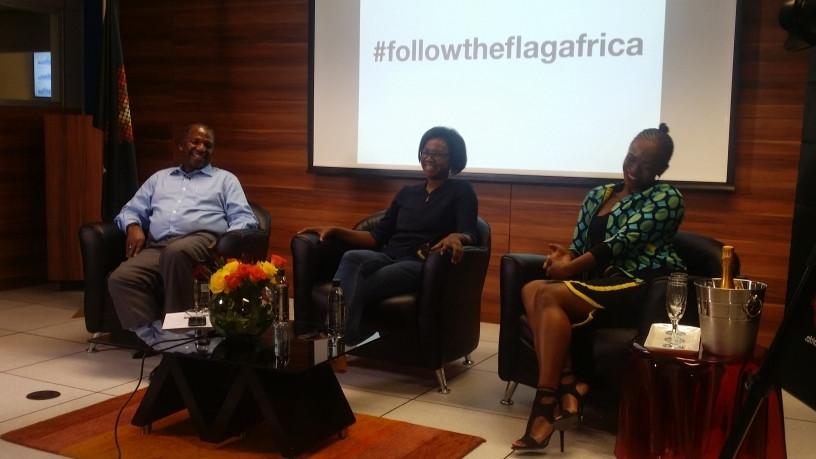 Registry Africa CEO Lucky Masilela, mountaineer Deshun Deysel and .africa ambassador Unathi.